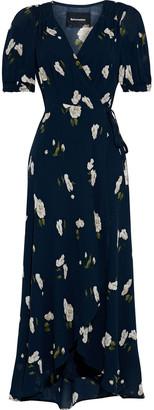 Reformation Bonnie Floral-print Crepe Midi Wrap Dress