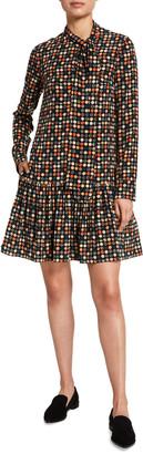 Akris Punto Bow-Neck Mulberry Silk Dress