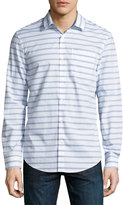 Original Penguin Long-Sleeve Striped Sport Shirt, Blue