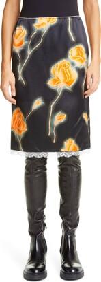 Meryll Rogge Neon Rose Print Satin Skirt