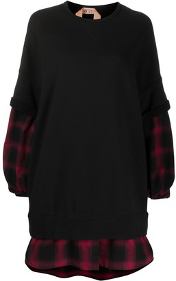 No.21 Flannel Panel Sweatshirt Dress