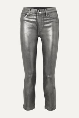 J Brand Ruby Cropped Metallic Coated High-rise Slim-leg Jeans