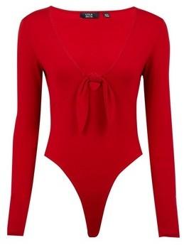 Dorothy Perkins Womens Lola Skye Red Tie Bodysuit, Red