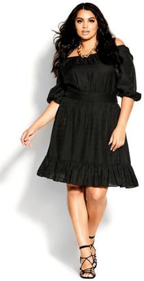City Chic Mini Flirt Dress - black