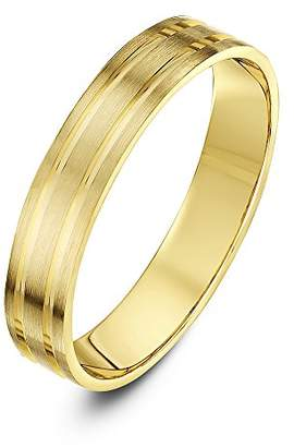 Theia Super Heavy Weight 4 mm Flat Shape Matt with Two Polished Grooves 9 ct Gold Gold Wedding Ring - N
