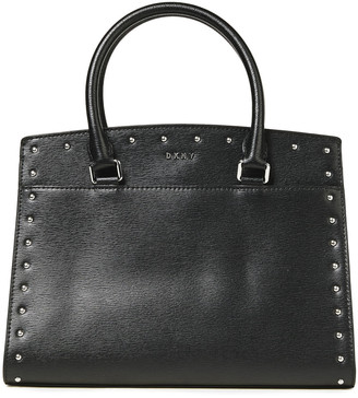 DKNY Studded Textured-leather Tote