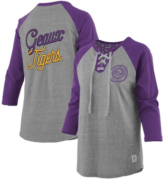 Women's Pressbox Heathered Gray/Purple LSU Tigers Plus Size Two-Hit Lace-Up Raglan Long Sleeve T-Shirt