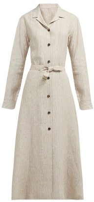 Giuliva Heritage Collection The Clara Pinstriped Linen Dress - Womens - White Multi
