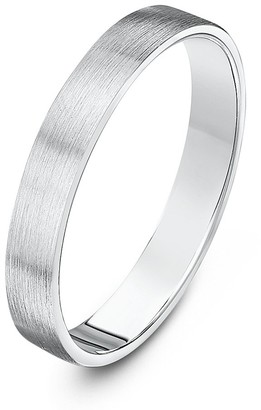 Theia Sterling Silver Super Heavy Flat Court Shape Matted 3mm Wedding Ring - Size X