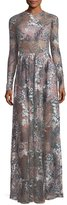 Alexis Jeslyn Long-Sleeve Floral Illusion Maxi Dress