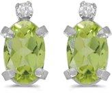 Direct-Jewelry Sterling Silver Oval Peridot and Diamond Earrings