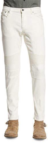 Belstaff Eastham Slim-Fit Moto Jeans, Natural White