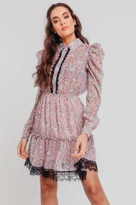Pretty Darling Floral Chiffon Ruched Long Sleeves Skater Shirt Dress