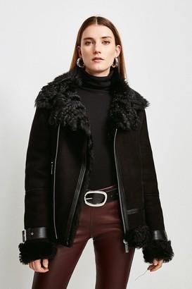 Karen Millen Shearling Aviator Coat