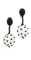 Oscar de la Renta Polka Dot Clip On Sequin Earrings