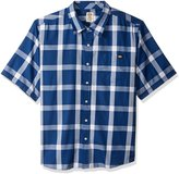 Dickies Men's Big and Tall Regular Fit Short Sleeve Single Pocket Plaid Shirt, Royal Blue/White, 3XL
