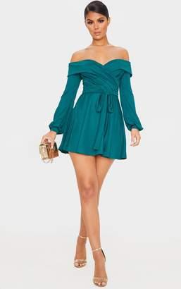 PrettyLittleThing Black Long Sleeve Wrap Bardot Skater Dress