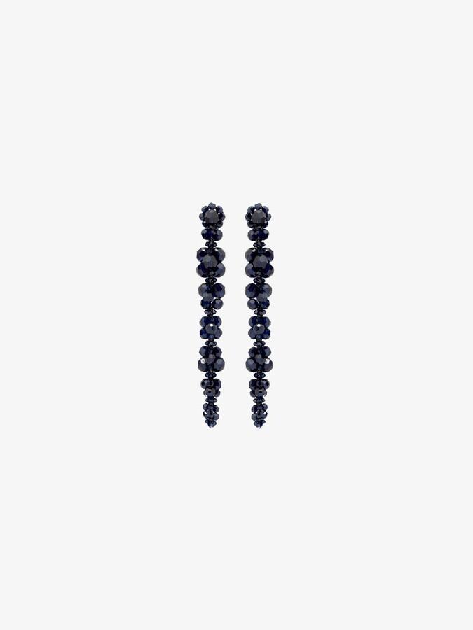 Thumbnail for your product : Simone Rocha Navy Blue Beaded Drop Earrings