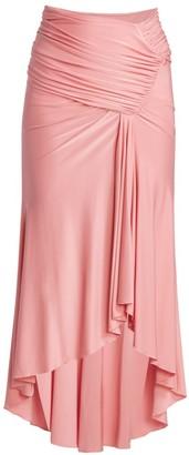 Alexandre Vauthier Shiny Draped Jersey Midi Skirt