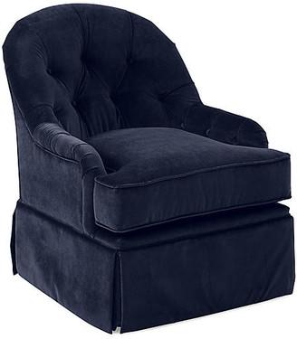 One Kings Lane Marlowe Swivel Club Chair - Navy Velvet
