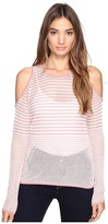 Romeo & Juliet Couture Long Sleeve Cold Shoulder Stripe Top