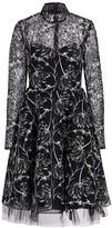 Pamella Roland Mockneck Floral Lace Fit-&-Flare Dress