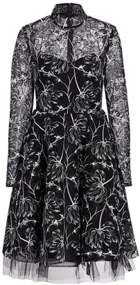 Pamella Roland Mockneck Floral Lace Fit-&-Flare Dress