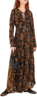 Farm Rio Golden Palms Long-Sleeve Maxi Dress
