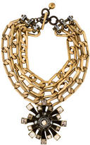 Lanvin Crystal Flower Statement Necklace