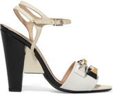 Fendi Embellished Leather Sandals - White