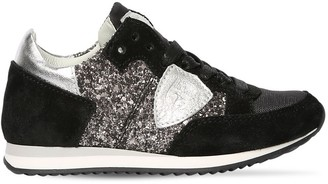 Philippe Model Glittered & Suede Sneakers