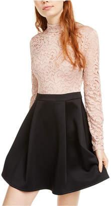 B. Darlin Juniors' Mock Neck Lace Top Skater Dress
