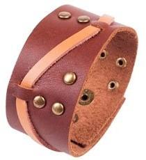 CORED Leather Bracelet Surfer Bracelet Leather Brown with Rivets Band Z34