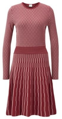 BOSS Long-sleeved dress in two-tone knitted jacquard