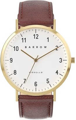 Barrow Petite Watch With Gold Mesh Strap & Brown Leather Strap
