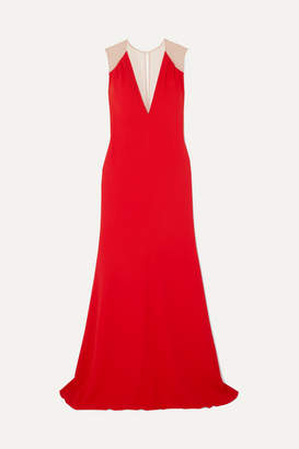 Victoria Beckham Mesh-paneled Cady Gown - Red