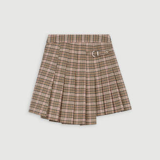 Maje Pleated plaid kilt-style skirt