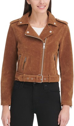 Levi's Women's Classic Asymmetrical Belted Faux-Suede Motorcycle Jacket