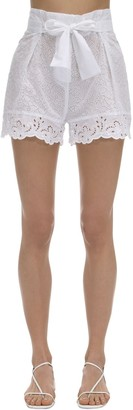 Ermanno Scervino Ruffled Sheer Lace Shorts