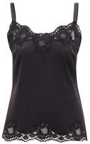 Dolce & Gabbana Floral Lace-trimmed Silk-blend Satin Camisole - Womens - Black