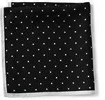 Lands' End Men's Silk Dot Pocket Square-Eggshell