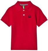 Benetton S/S Pique Logo Polo T-Shirt Red