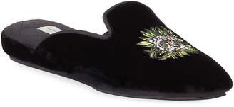 Patricia Green Cheetah Embroidered Velvet Slippers