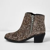 River Island Girls silver glitter Western boots