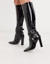 Asos Design DESIGN Cleo heeled knee high boots in black