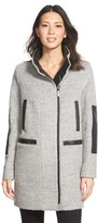Vince Camuto Women's Faux Leather Trim Boucle Coat