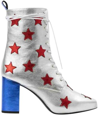Filles a papa Silver Leather Ankle boots