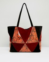 Asos Snake Suede Patchwork Shopper Bag