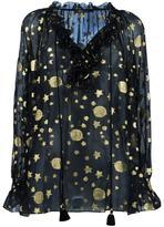 Roberto Cavalli gold-tone print sheer blouse