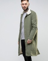 Asos Fleece Lined Trench With Funnel Collar in Khaki